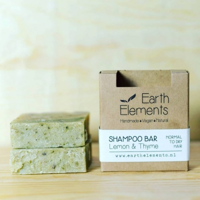 Natuurlijke haarzeep / shampoo bar (Earth Elements) - Lemon & Thyme normal to dry hair