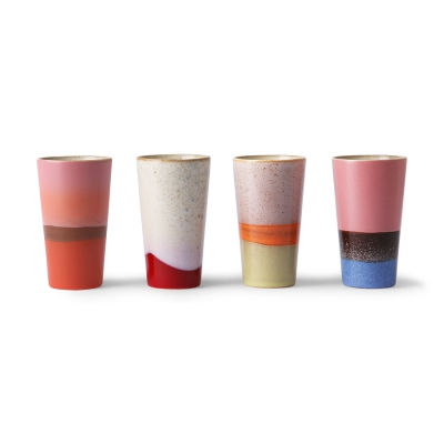 HKliving - Ceramic 70's latte mugs multicolour keramiek set van 4