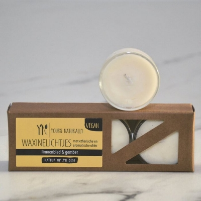 Yours Naturally - Vegan waxinelichtjes Limoenblad & Gember (massage olie)