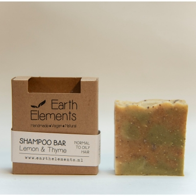 Natuurlijke haarzeep / shampoo bar (Earth Elements) - Lemon & Thyme normal to oily hair